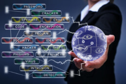 a person holding a ball accompanied by cyber security terms